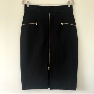 Banana Republic black skirt with zippers, size 10